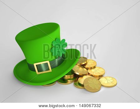 Lucky green hat with clover and golden coins for Saint Patrick's Day. 3D rendering with clipping path
