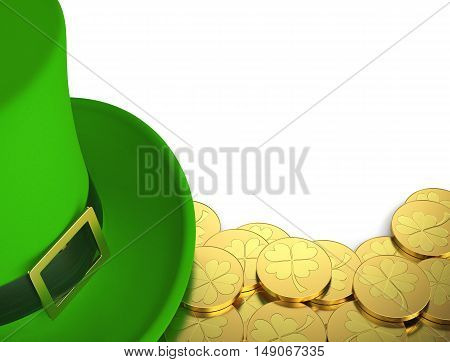 Lucky green hat with golden coins for Saint Patrick's Day isolated on white. 3D rendering