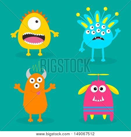 Monster set. Cute cartoon scary character. Baby collection. Green background Isolated. Happy Halloween card. Flat design. Vector illustration.