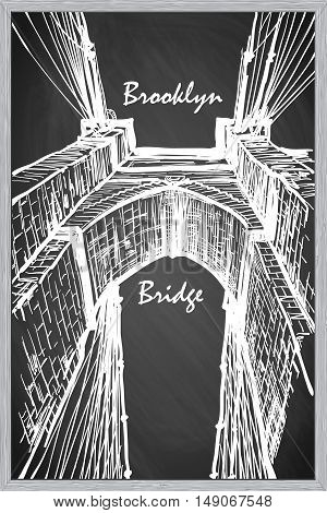 Brooklyn Bridge. Sketch imitating chalk drawing on a blackboard. Sketch is isolated on a separate layer. EPS10 vector illustration.