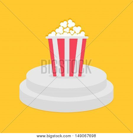 Round stage podium. Popcorn red white strip box. Pedestal for display. 3d realistic platform design. Isolated. Yellow background. Flat. Vector illustration