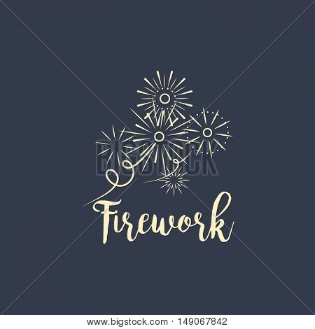 Firework company logo design on the dark background. Vector illustration