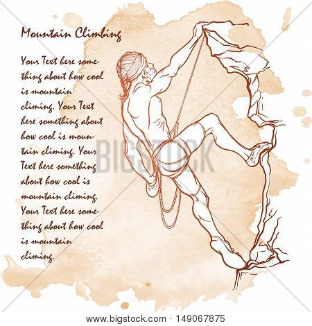 Rock climber.  Sketch of an athletic man climbing up the cliff. Grunge background, vintage look. EPS10 vector illustration.