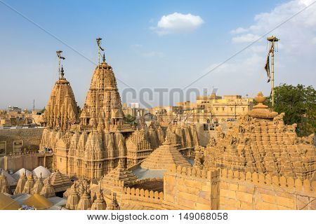 Roof of the Jain temple in Jaisalmer, India.