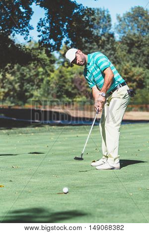 Good putting, toned image, vertical image, green