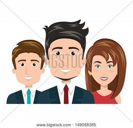cartoon men and woman happy work team human resources vector illustration