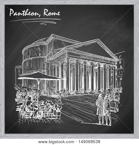 City life scene in Rome. Pantheon and groups of people wandering around. Architectural chalk sketch on a blackboard. Sketch is isolated on a separate layer. EPS10 vector illustration.