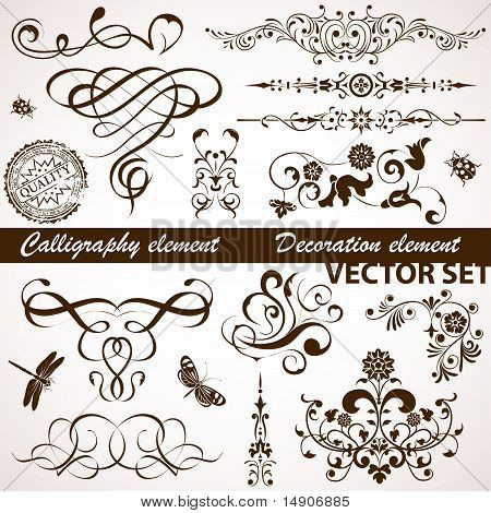 Calligraphic And Floral Element