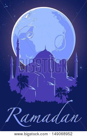 Moon and silhouette of Hagia Sophia mosque on dark blue night sky background with silver stars. Ramadan festive poster. Muslim community celebration flyer. EPS10 vector illustration.