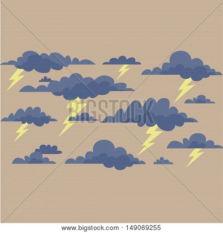 Storm clouds with lightning on a cream background. Vector illustration