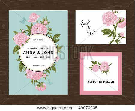 Wedding set. Menu save the date guest card. Pink flowers peonies. Vintage vector illustration.