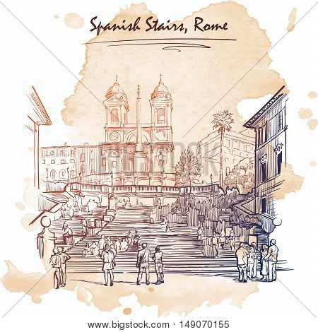 Spanish Stairs with tourists. Architectural drawing with a grunge background on a separate layer. Travel sketchbook illustration. Vintage design. EPS10 vector illustration.