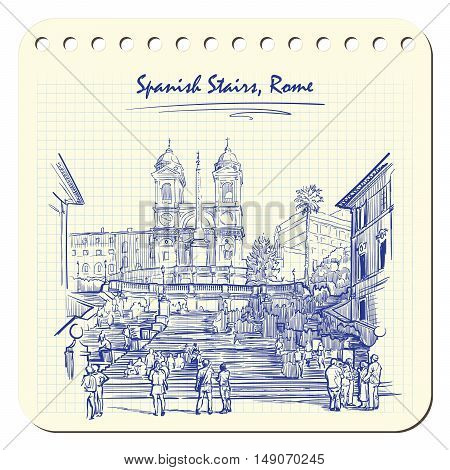 Spanish Stairs with tourists. Sketch imitating ink pen scribbling in a notepad. Sketch is isolated on a separate layer. EPS10 vector illustration.