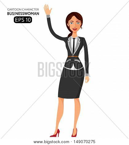 young business lady waving her hand flat cartoon vector illustration. Eps10. Isolated on a white background.