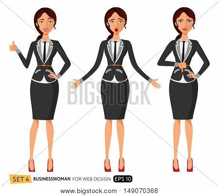 vector illustration of three business woman in office suit. Flat surprised business woman. Business woman throwing up his hands. Frowning business woman. Flat Strict tutor. Disappointed character. Vector.business woman in three expressions: wonder, sad an