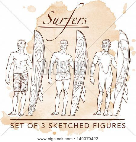 Set of 3 sketched surfer  front view figures. Hipster style looking young surfers wearing different swimwear. Sketch and silhouette. Grunge background. EPS10 vector illustration.