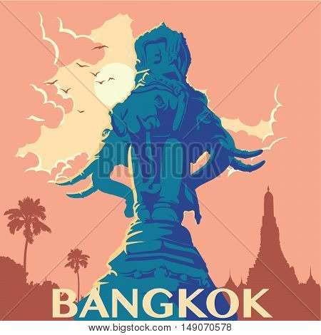Statue of elephants in Bangkok city. Sunrise urban panorama. Warm palette. Vintage poster. Old-fashioned design. EPS10 vector illustration.