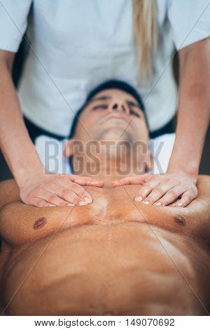 Sports Massage - Massaging Chest