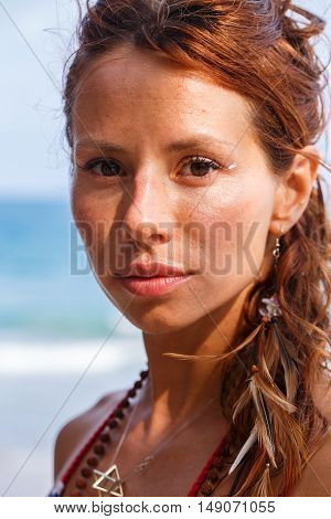 Portrait of a beauty woman on the beach in Thiland