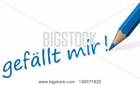blue pencil with text like (in german) isolated on white background