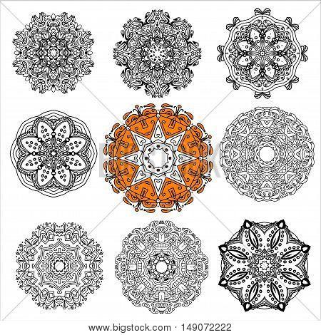 A set of nine circular patterns, mandalas, the elements for your design, hand-drawn illustration. Mandala tattoo. Boho style