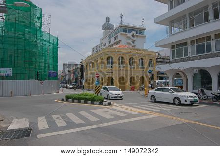 PHUKET, THAILAND - JURY 23 , 2015 : Phuket Baba Museum the building is over 100 years old, (Ex The Standard Chartered Bank Building) is a Beautiful Yellow Sino Portuguese Style Building