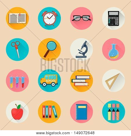 Objects for school. Back to study. Set of round flat icons. Vector Illustrations.