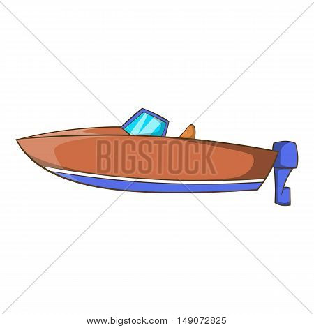 Motor boat icon in cartoon style isolated on white background. Maritime transport symbol vector illustration