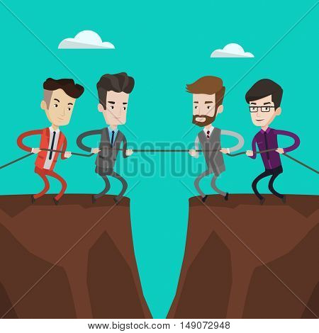 Two groups of business people pulling rope on cliff. Concept of teamwork and competition in business. Confrontation between two groups of business people. Vector flat design illustration.Square layout