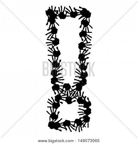 Vector concept or conceptual cute paint human hands or handprints of child font or symbol isolated on white background