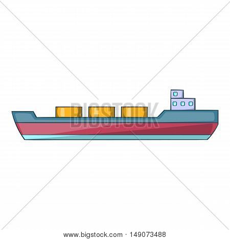 Ship carries cargo icon in cartoon style isolated on white background. Sea and transport symbol vector illustration