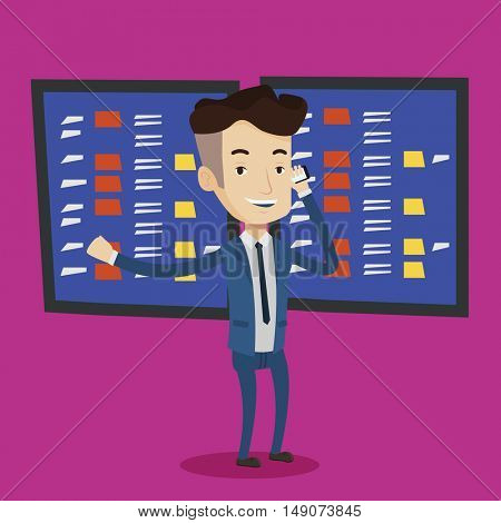 An excited businessman talking on mobile phone on the background of display of stock market quotes. Young happy stockbroker at stock exchange. Vector flat design illustration. Square layout.