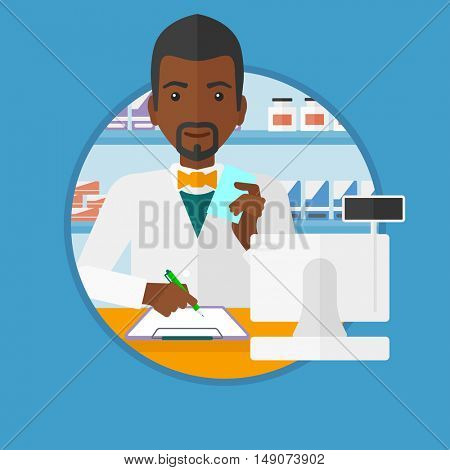 An african-american pharmacist writing on clipboard and holding prescription in hand. Pharmacist standing at pharmacy counter. Vector flat design illustration in the circle isolated on background.