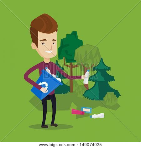 Joyful man with recycling bin in hand picking up used plastic bottles in park. Man collecting garbage in forest. Concept of environmental pollution. Vector flat design illustration. Square layout.