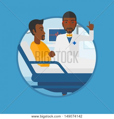 An african-american doctor visiting male patient at hospital ward. Doctor pointing finger up during consultation with patient.Vector flat design illustration in the circle isolated on background.