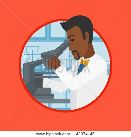 An african-american laboratory assistant working with microscope at the laboratory. Scientist using a microscope in a laboratory. Vector flat design illustration in the circle isolated on background.