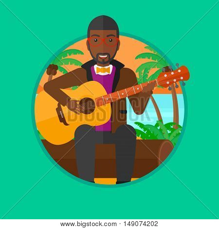 An african musician sitting on log and playing an acoustic guitar. Man practicing in playing guitar. Guitarist playing on the beach.Vector flat design illustration in the circle isolated on background