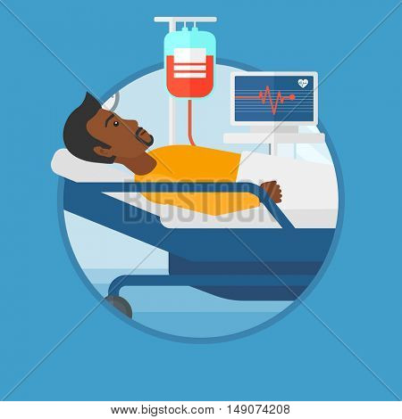 An african man lying in bed at hospital ward. Patient with heart rate monitor and equipment for blood transfusion in medical room. Vector flat design illustration in the circle isolated on background.