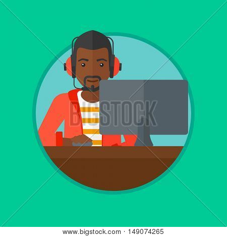 An african-american man playing computer game. Gamer in headphones playing online games. Gamer using computer for playing game. Vector flat design illustration in the circle isolated on background.