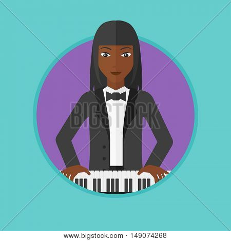 An african-american young musician playing piano. Pianist playing upright piano. Female artist playing on synthesizer. Vector flat design illustration in the circle isolated on background.
