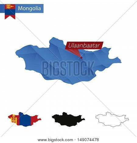 Mongolia Blue Low Poly Map With Capital Ulaanbaatar.