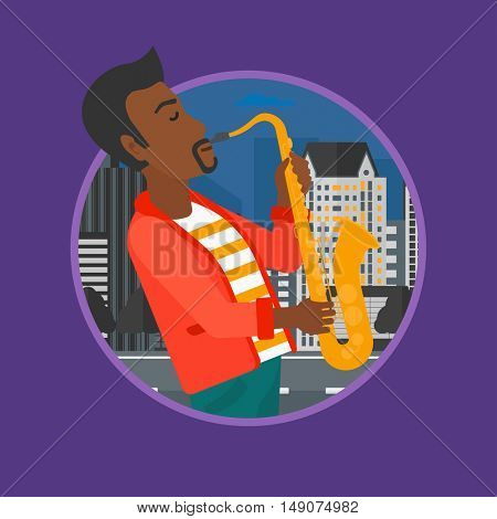 An african-american musician playing on saxophone. Man playing on saxophone in the night. Man with saxophone in the city street.Vector flat design illustration in the circle isolated on background.