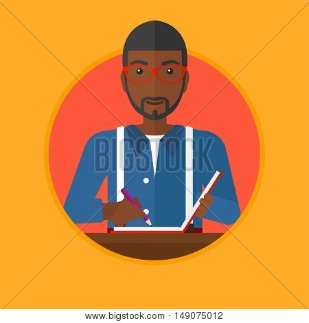 An african-american journalist sitting at the table and writing in notebook with pencil. Young smiling journalist at work. Vector flat design illustration in the circle isolated on background.