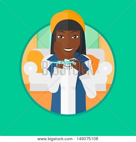 African-american woman looking at positive pregnancy test. Woman checking pregnancy test. Surprised woman holding pregnancy test. Vector flat design illustration in the circle isolated on background.