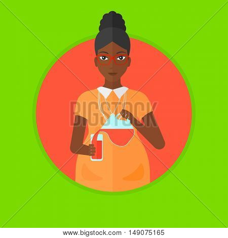 An african pregnant woman pouring juice in glass. Pregnant woman drinking juice. Concept of healthy nutrition during pregnancy. Vector flat design illustration in the circle isolated on background.