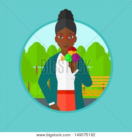 An african-american woman eating a big ice cream in cone. Woman holding an ice cream in hand. Woman enjoying an ice cream at park. Vector flat design illustration in the circle isolated on background.
