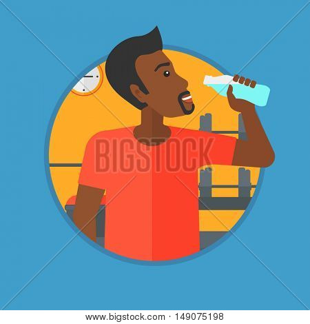African-american man drinking water. Young sportive man with bottle of water in the gym. Sportsman drinking water from the bottle. Vector flat design illustration in the circle isolated on background.