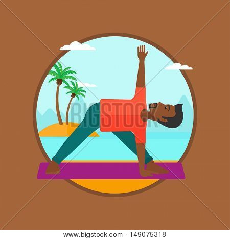 An african-american man standing in yoga triangle pose. Man meditating in yoga triangle position on the beach. Man doing yoga. Vector flat design illustration in the circle isolated on background.