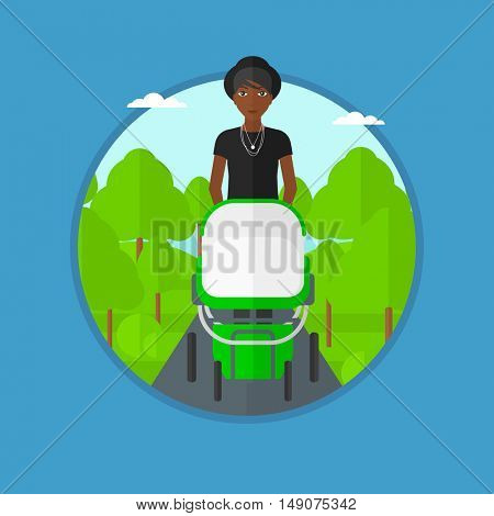 An african mother walking with baby stroller in the park. Mother walking with her baby in stroller. Mother pushing baby stroller. Vector flat design illustration in the circle isolated on background.