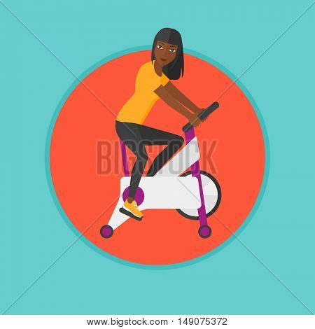An african woman riding stationary bicycle. Woman exercising on stationary training bicycle. Woman training on exercise bike. Vector flat design illustration in the circle isolated on background.